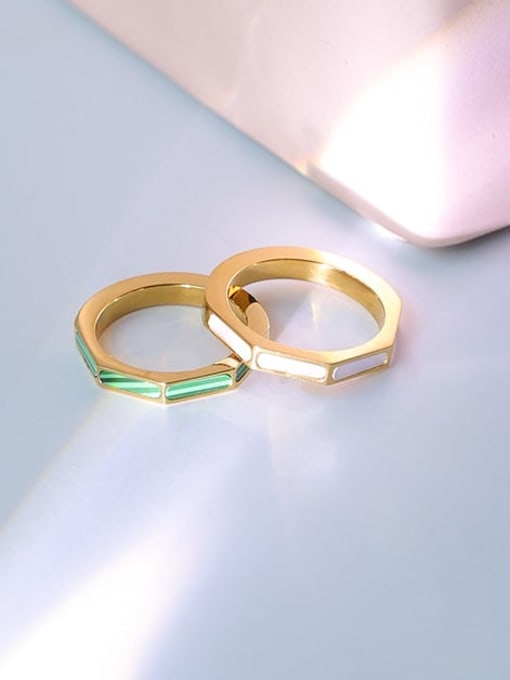 Five Color Brass shell Geometric Minimalist Band Ring 2