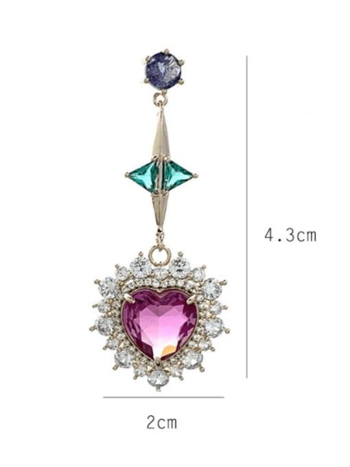 SUUTO Brass Cubic Zirconia Heart Luxury Drop Earring 2