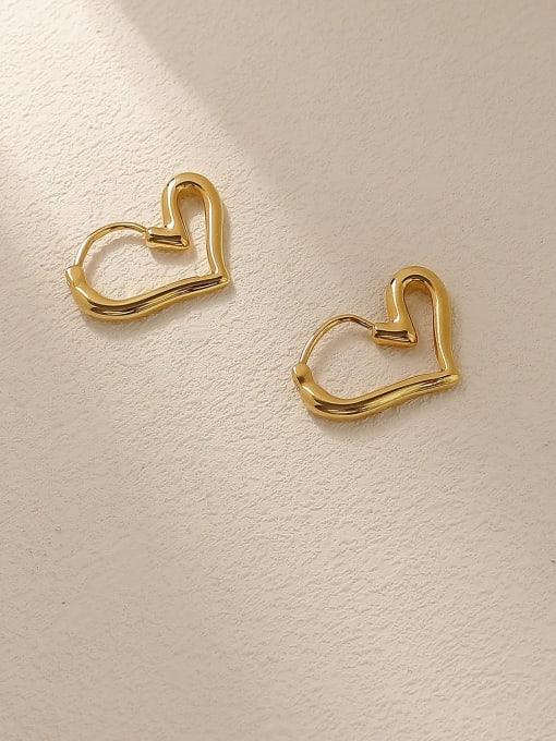 HYACINTH Brass Hollow Heart Minimalist Huggie Trend Korean Fashion Earring 0