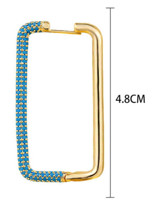 Turquoise Brass Cubic Zirconia Geometric Minimalist Huggie Earring