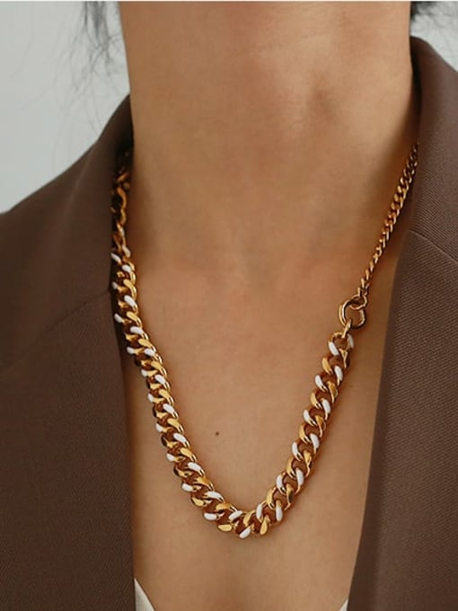 ACCA Brass Hollow Geometric  Chain Vintage Necklace 1