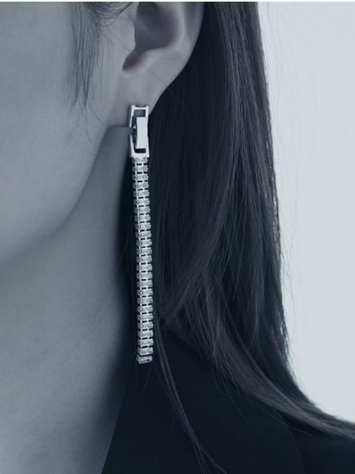TINGS Brass Cubic Zirconia Tassel Minimalist Drop Earring 1