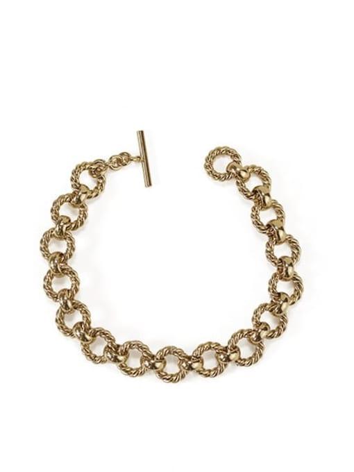 golden Brass hollow Geometric  chain Artisan Link Bracelet