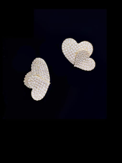 SUUTO Brass Cubic Zirconia Heart Vintage Stud Earring 2
