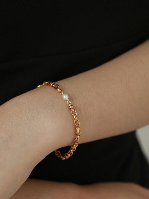 Five Color Brass Geometric Hip Hop Hollow Chain Link Bracelet 2