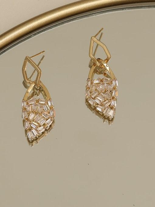HYACINTH Brass Cubic Zirconia Geometric Dainty Drop Earring 1