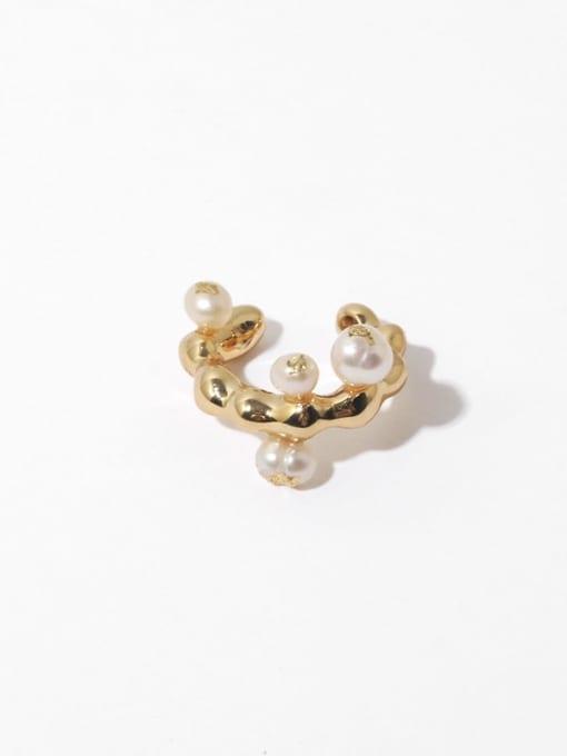 Pearl Earbone clip (sold separately) Brass Imitation Pearl Irregular Vintage Single Earring