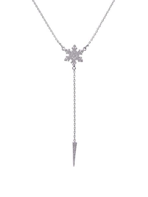 Platinum White Brass Cubic Zirconia Flower Minimalist Lariat Necklace