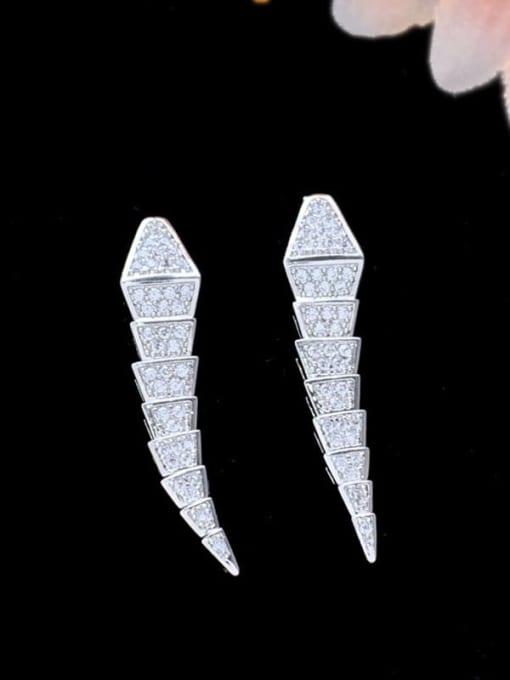SUUTO Brass Cubic Zirconia Irregular Statement Stud Earring