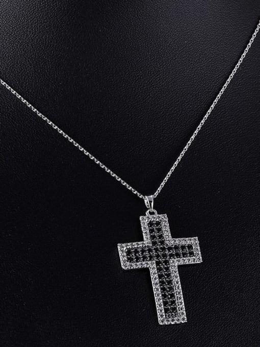 YILLIN Brass Cubic Zirconia Cross Minimalist Regligious Necklace 2
