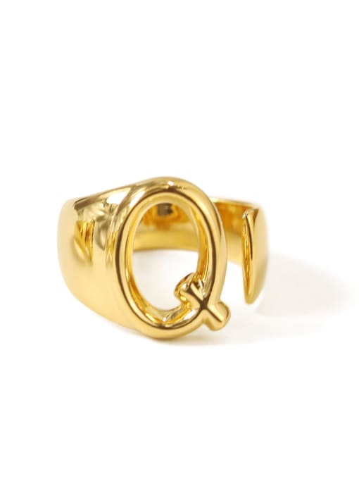 Q Brass  26 Letter Vintage Band Ring