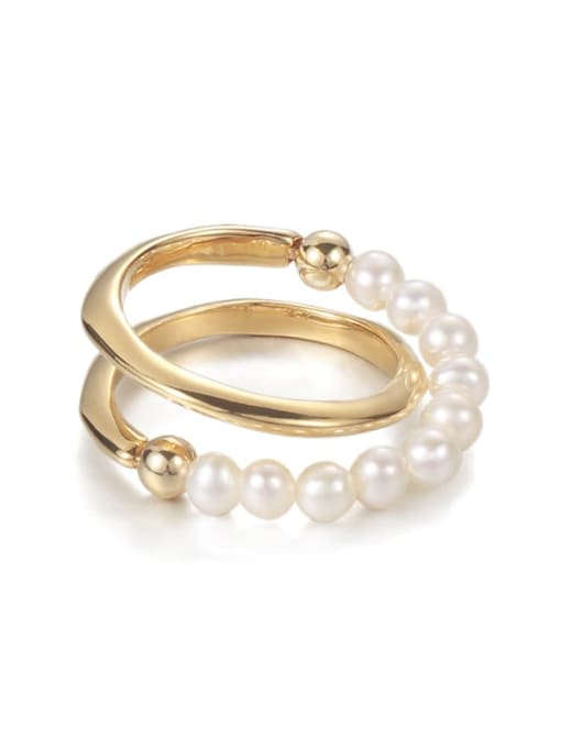 Five Color Brass Imitation Pearl Geometric Vintage Stackable Ring 0