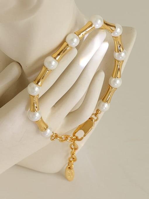 Five Color Brass Imitation Pearl Geometric Minimalist Beaded Bracelet 0