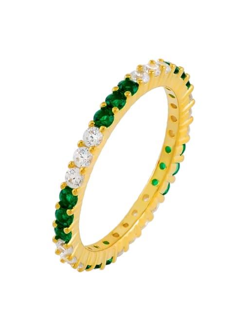 green Brass Cubic Zirconia Geometric Minimalist Band Ring