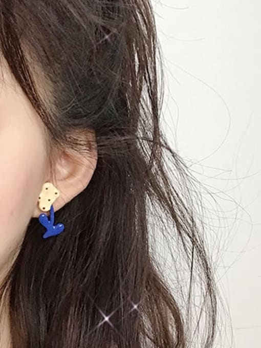 Five Color Alloy Enamel Asymmetry Flower Cute Stud Earring 1