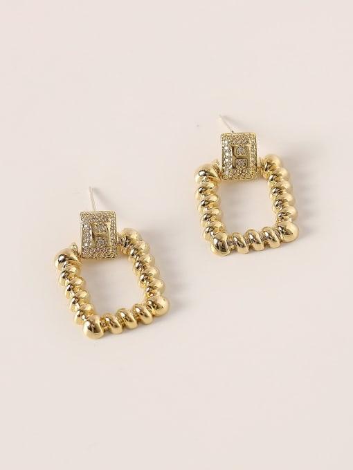 HYACINTH Brass Hollow Geometric Vintage Drop Earring 0