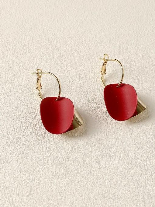 claret Brass Enamel Geometric Vintage Huggie Earring