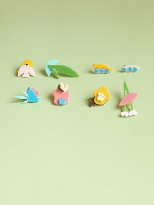 Five Color Alloy Acrylic Leaf Cute Stud Earring 0