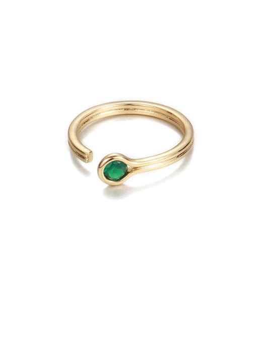 Green Zircon Brass Rhinestone Rainbow Minimalist Band Ring