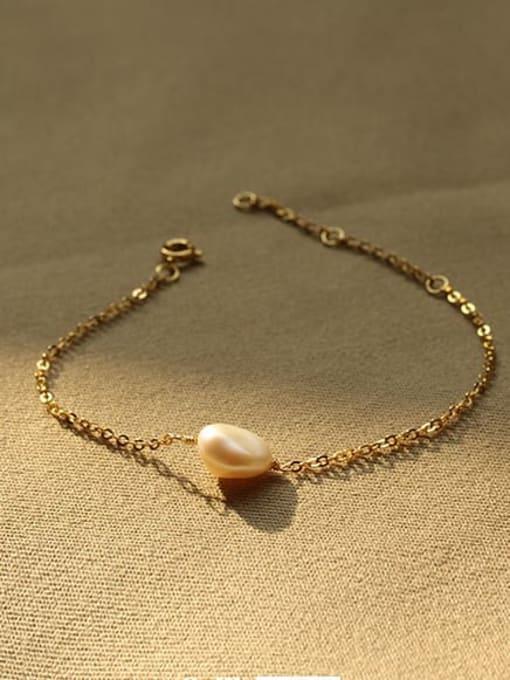 ACCA Brass Freshwater Pearl Irregular Vintage Link Bracelet 2
