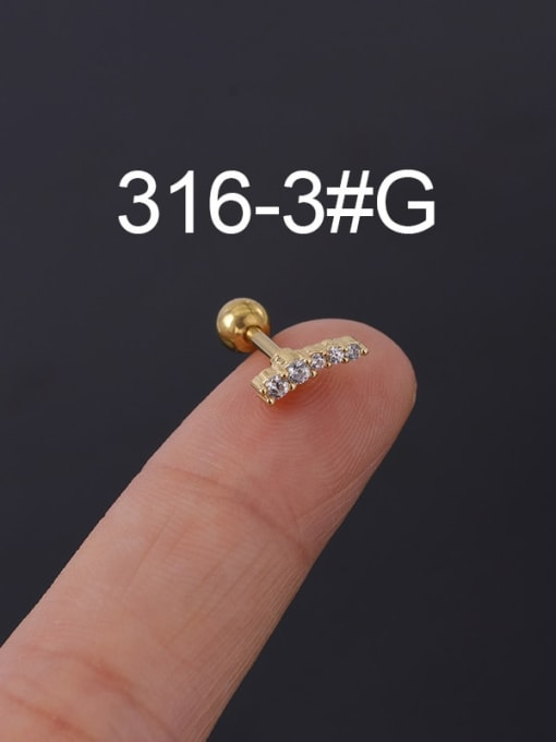 3G Stainless steel with Cubic Zirconia Ear Bone Nail/Puncture Earring