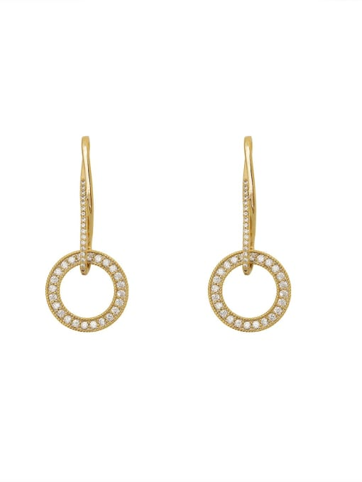 HYACINTH Brass Cubic Zirconia Geometric Minimalist Drop Earring 3