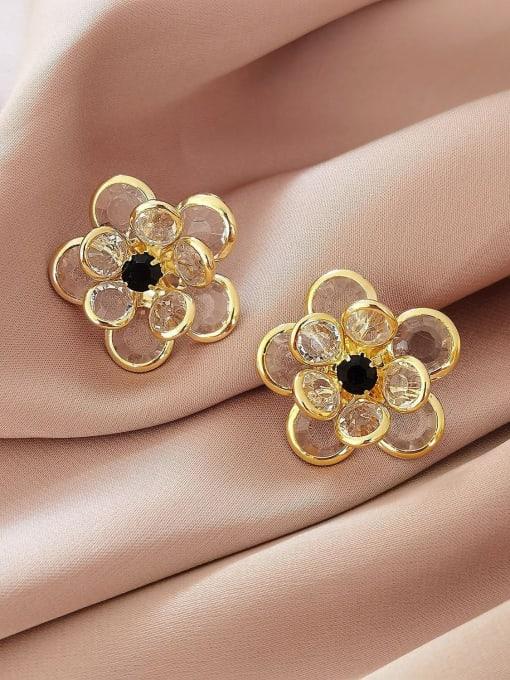HYACINTH Brass Cubic Zirconia Flower Vintage Stud Earring 2