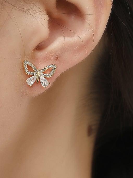 HYACINTH Brass Cubic Zirconia Butterfly Vintage Stud Trend Korean Fashion Earring 1