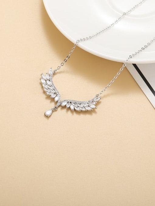 YILLIN Brass Cubic Zirconia Wing Minimalist Necklace 2