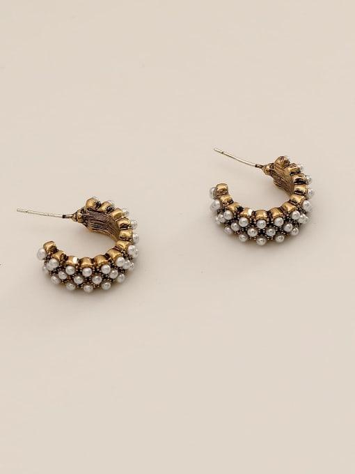 Large 3 rows of pearls Brass Imitation Pearl Geometric Vintage Stud Earring