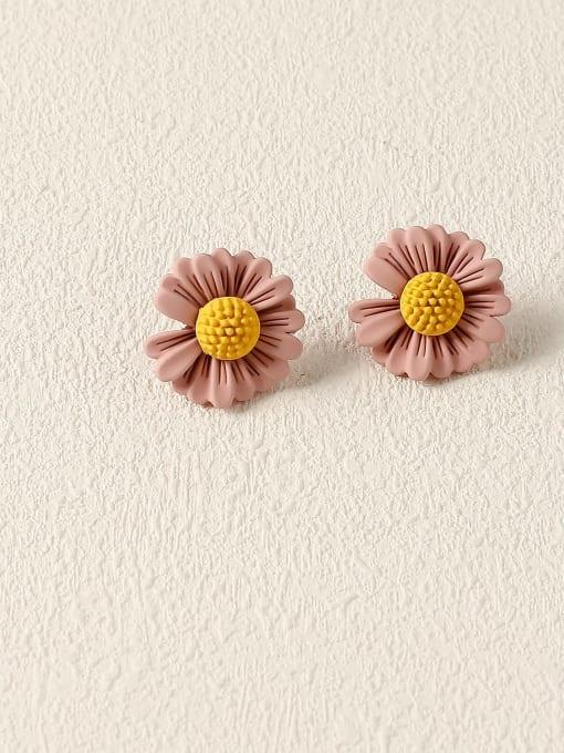 Lotus root color Brass Enamel Flower Cute Stud Earring