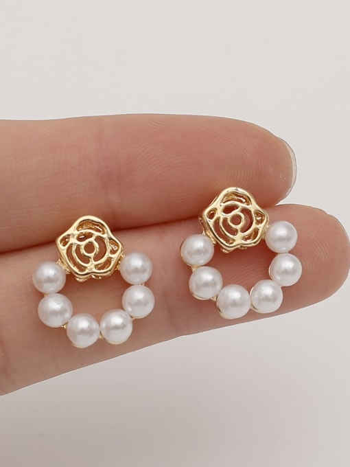 HYACINTH Brass Imitation Pearl Flower Vintage Drop Earring 1