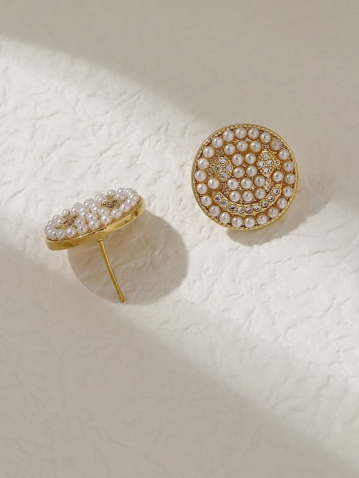 HYACINTH Brass Imitation Pearl Smiley Vintage Stud Trend Korean Fashion Earring 3