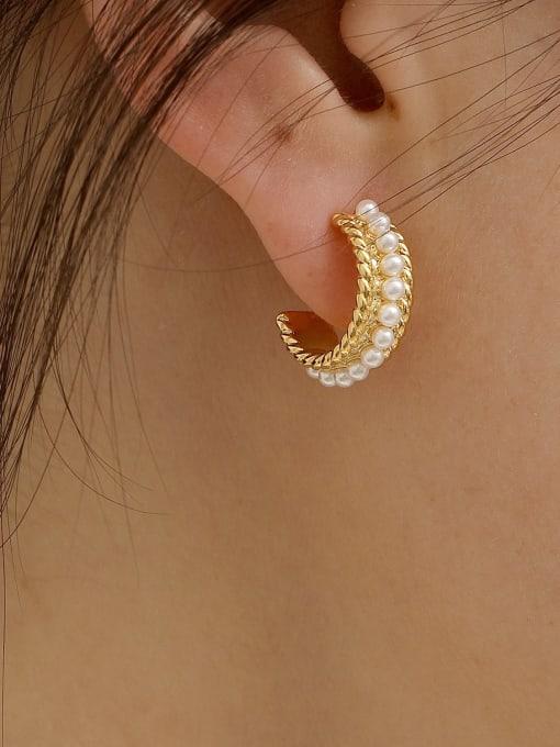 HYACINTH Alloy Imitation Pearl Geometric Minimalist Stud Earring 1