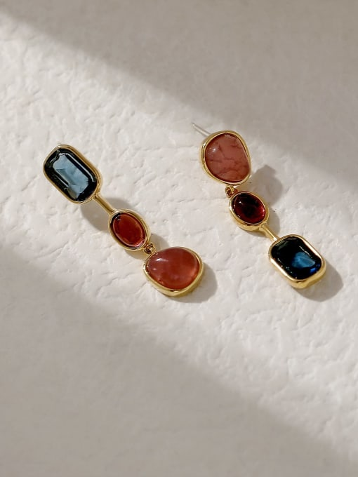 HYACINTH Brass Glass Stone Geometric Vintage Drop Trend Korean Fashion Earring 3