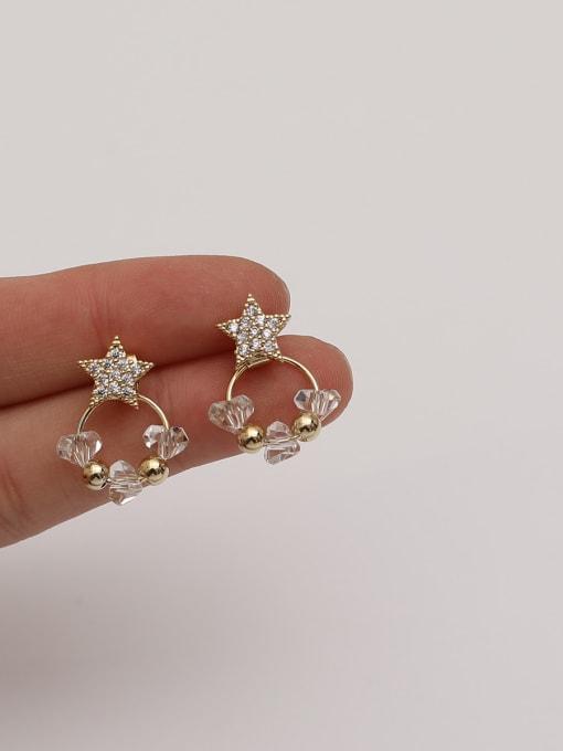 HYACINTH Brass Cubic Zirconia Star Vintage Pentagram White Crystal Huggie Earring 1