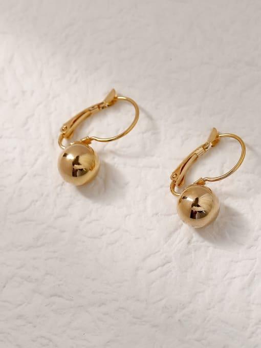 18k gold Brass Ball Vintage Hook Trend Korean Fashion Earring