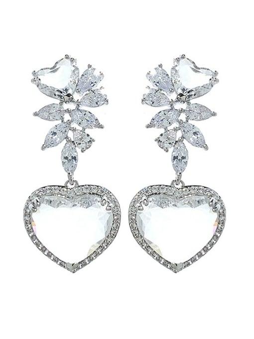 platinum Brass Cubic Zirconia Heart Luxury Drop Earring
