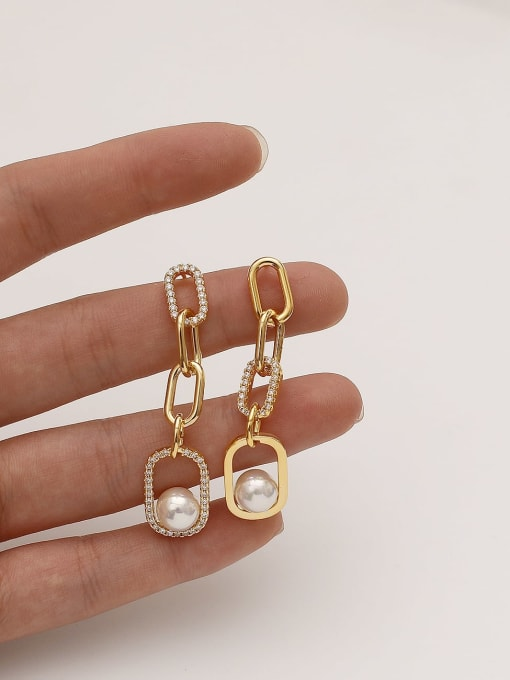 HYACINTH Brass Imitation Pearl Geometric Vintage Drop Earring 2