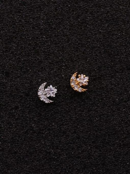 HISON Brass Cubic Zirconia Star Minimalist Stud Earring 2