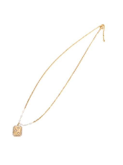 Zircon Pearl Necklace Brass Imitation Pearl Star Vintage Necklace