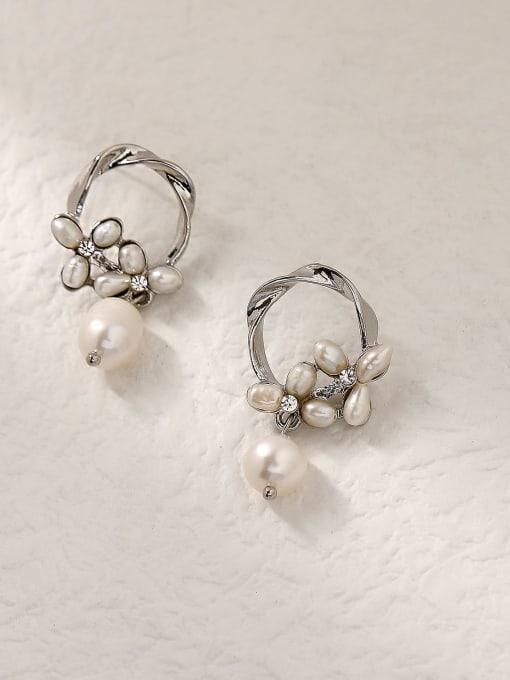 HYACINTH Brass Imitation Pearl Geometric Vintage Drop Trend Korean Fashion Earring 2