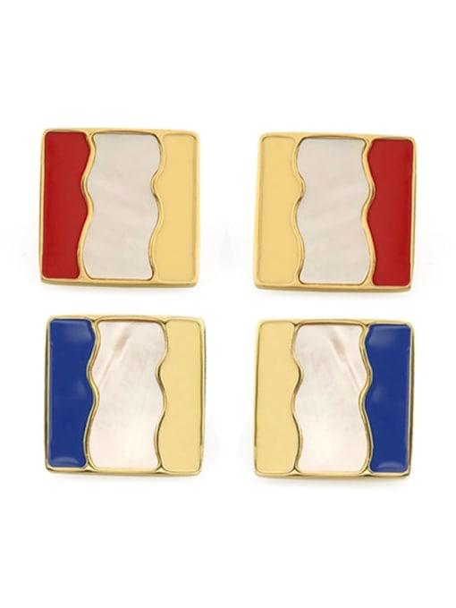 Five Color Alloy Enamel Geometric Vintage Stud Earring