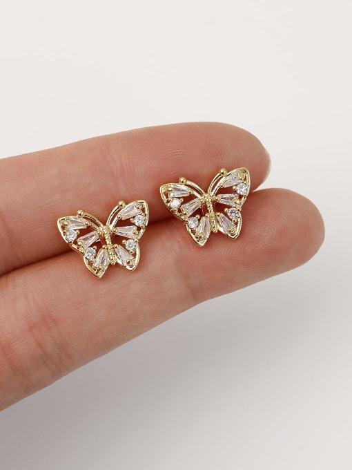 HYACINTH Brass Imitation Pearl Butterfly Vintage Stud Earring 2