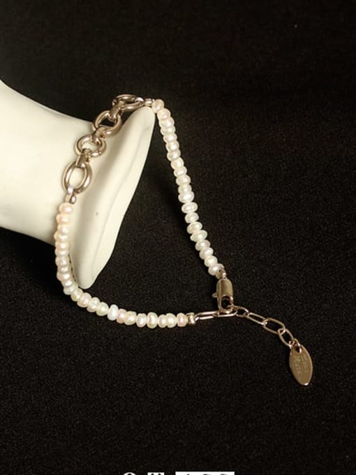 ACCA Brass Freshwater Pearl Hollow  Geometric Vintage Bracelet 0