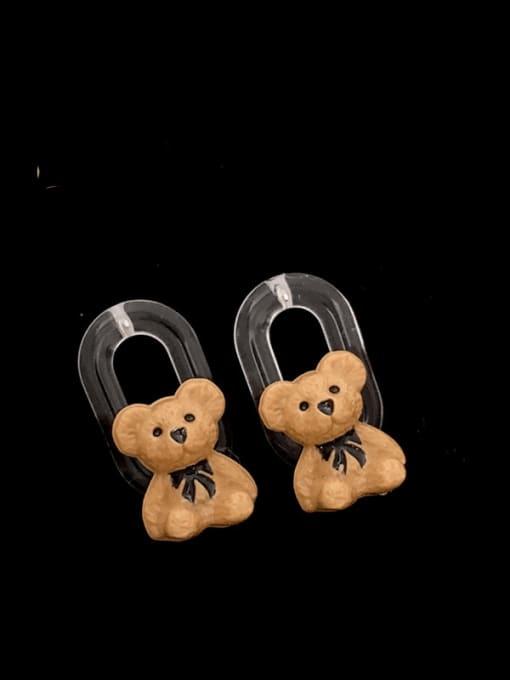 SUUTO Brass Resin Bear Hip Hop Stud Earring 0