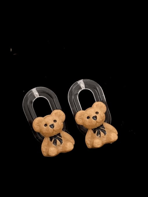 SUUTO Brass Resin Bear Hip Hop Stud Earring