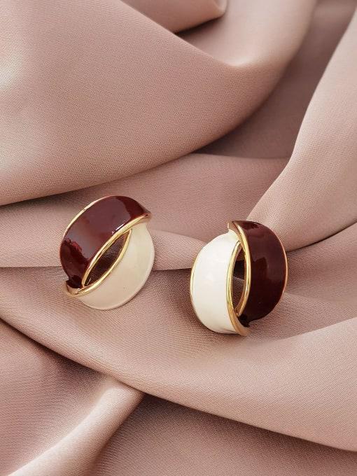 14k Gold Brass Enamel Geometric Vintage Stud Earring