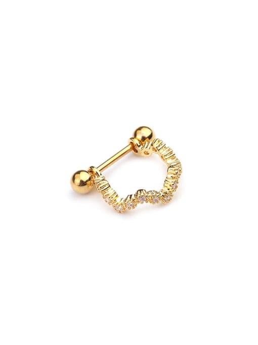 Gold 2# Brass Cubic Zirconia Irregular Minimalist Huggie Earring