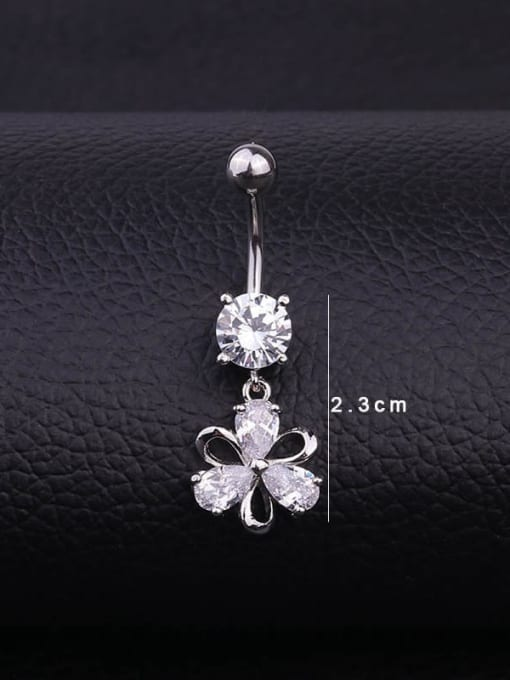 HISON Stainless steel Cubic Zirconia Flower Hip Hop Belly studs & Belly Bars 4